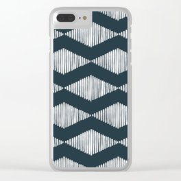 Acoustic Wave Navy Clear iPhone Case