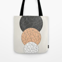 TRIAD ON BEIGE (abstract circles) Tote Bag