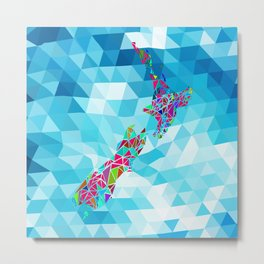 New Zealand Map : Geometric Metal Print