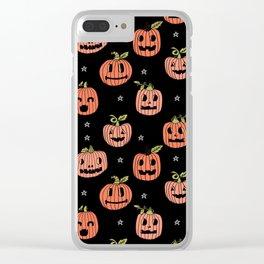 Pumpkins halloween cute jack-o'-lantern pattern fall autumn gifts Clear iPhone Case