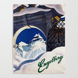 Vintage Engelberg Switzerland Travel Poster