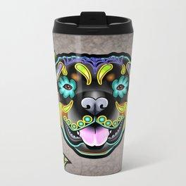 Rottweiler - Day of the Dead Sugar Skull Dog Metal Travel Mug