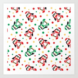 Christmas Penguins and Polka Dots Art Print