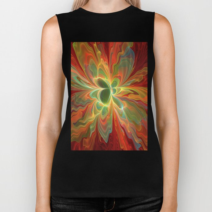 With a lot of Red, Abstract Art Biker Tank