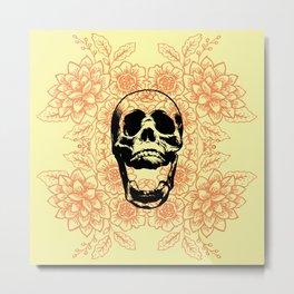 Skull Floral Pattern Metal Print