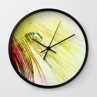 feather Wall Clocks featuring Feather  by ALLY COXON