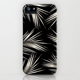 White Gold Palm Leaves on Black iPhone Case