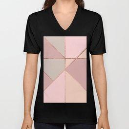 Modern rose gold peach blush pink color block Unisex V-Neck