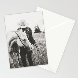 A Cowgirl & Her Horse - Black & White Photo Stationery Cards