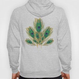 """Turquoise and golden peacock"" Hoody"