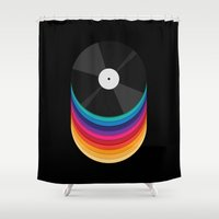 records Shower Curtains featuring Rainbow Records by Michael Glass