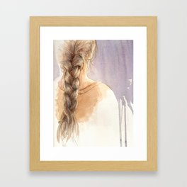 Girl with Braid in Watercolor Framed Art Print