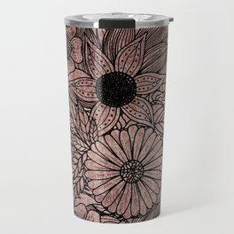 Floral Rose Gold Flowers and Leaves Drawing Black Travel Mug