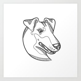 Manchester Terrier Head Drawing Art Print