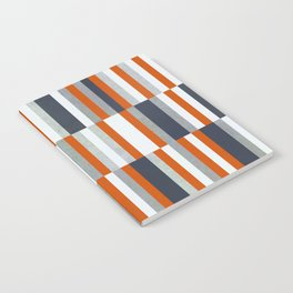 Orange, Navy Blue, Gray / Grey Stripes, Abstract Nautical Maritime Design by Notebook