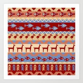 Inca Animals Fish and Birds Pattern Art Print
