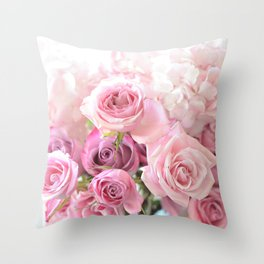 Pink Bouquet of Roses Shabby Chic Floral Wall Art Home Decor Throw Pillow