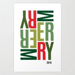 Sideways Merry Art Print