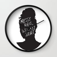 whisky Wall Clocks featuring Messy Hair, Whisky Neat by Sarah Marie Design Studio