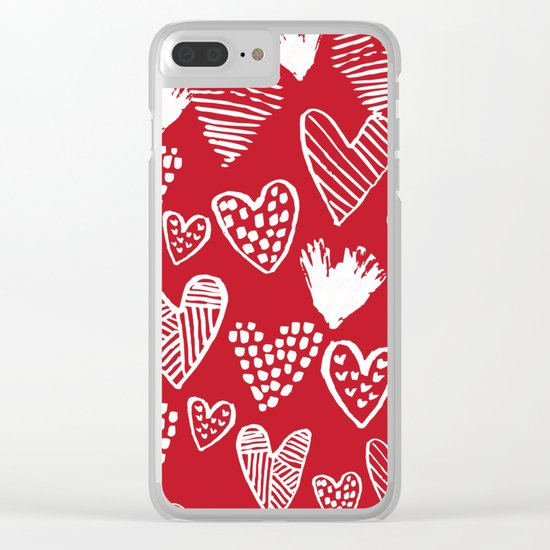 Herats red and white pattern minimal valentines day cute girly gifts hand drawn love patterns Clear iPhone Case
