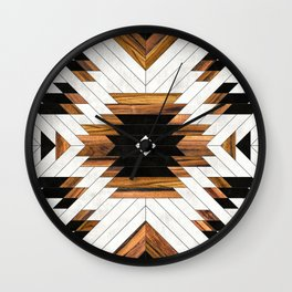 Urban Tribal Pattern 5 - Aztec - Concrete and Wood Wall Clock