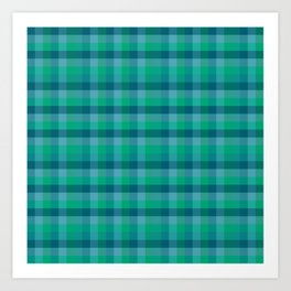 Turquoise Check / Plaid Striped Digital Pattern Art Print