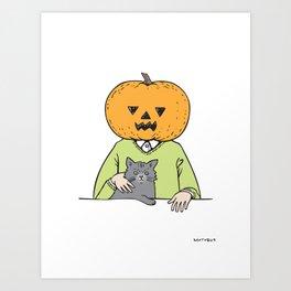 Pumpkinhead & cat Art Print