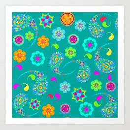 Green Paisley № 5 Art Print
