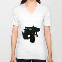 gears of war V-neck T-shirts featuring gears of war lancer silhouette by jjb505