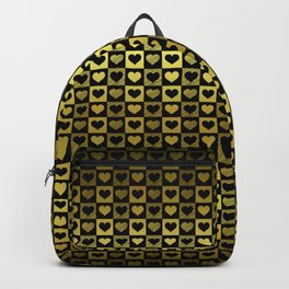 Gold & Black Valentines Loveheart Check Backpack