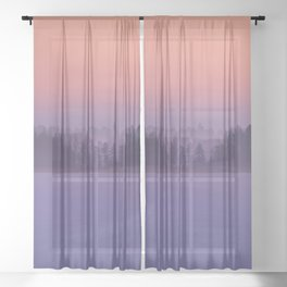 Foggy Winter Evening With Beautiful Sunset Colors In The Sky #decor #buyart #society6 Sheer Curtain