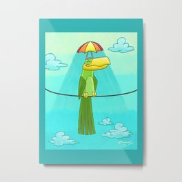 Umbrella Hat Bird Lounging on a Wire! Metal Print