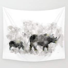 Rhino and Calf Wall Tapestry
