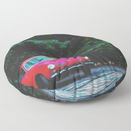 red classic car in the forest with green tree background Floor Pillow