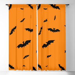 Flying black bats on an orange background in Halloween style Blackout Curtain