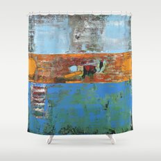 Alligator Blue Orange Modern Abstract Contemporary Art Shower Curtain