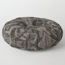 Curves & lotuses, abstract floral pattern, charcoal black, dark brown and taupe Floor Pillow