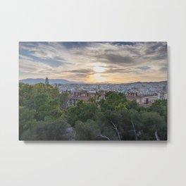 Malaga cityscape at sunset Metal Print