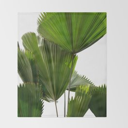 Palm Tree Photography | Landscape | Palm Leaf | Tropical Leaves | Green Tropical Leaves Throw Blanket