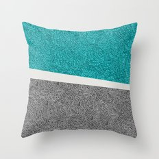 Digital Pen & Ink: Turquoise & Black Doodles Throw Pillow