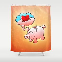 Piggy Bank Daydreaming of Hearts instead of Coins Shower Curtain