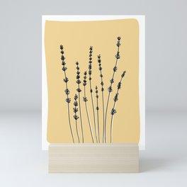 Lavender Botanical Line Art Print - yellow - pt 3 Mini Art Print