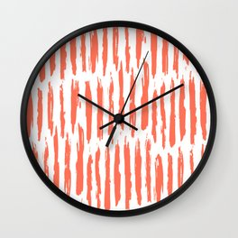Vertical Dash Deep Coral on White Wall Clock