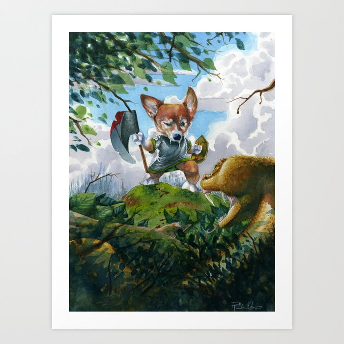 Battle Corgi And Snake Art Print