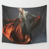 smaug Wall Tapestries featuring Elvish King by Andi Robinson