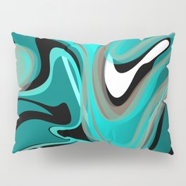 Liquify 2 - Brown, Turquoise, Teal, Black, White Pillow Sham