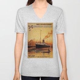 Vintage French Orient Shipping line Paris Mediterranean Unisex V-Neck