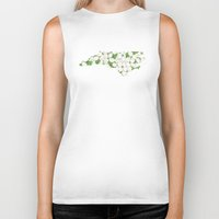 north carolina Biker Tanks featuring North Carolina in Flowers by Ursula Rodgers