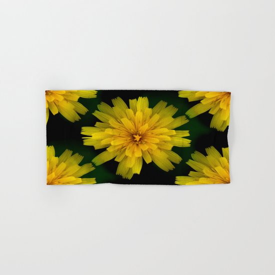 Yellow Natural Flowers On Black Background Hand & Bath Towel