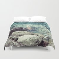 swimming Duvet Covers featuring SWIMMING by Marte Stromme